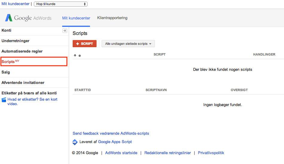 Google AdWords MCC Scripts