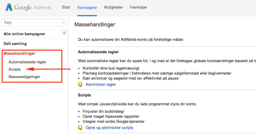 AdWords scripts på konto niveau